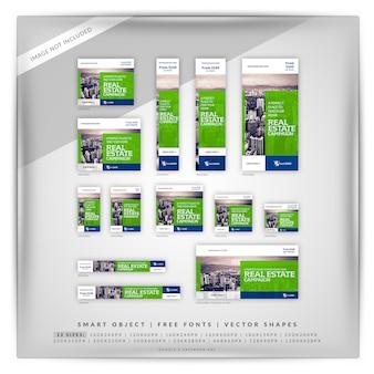 Flat square real estate google e anúncios do facebook