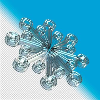 Floco de neve feito de vidro renderização em 3d