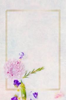 Flor da mãe em maquete de moldura dourada
