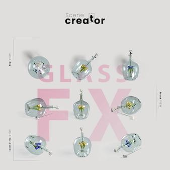 Flor em vista de vidro do criador de cena de primavera
