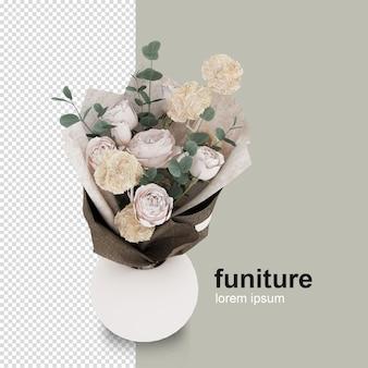 Flor isométrica em vaso em renderização 3d isolada