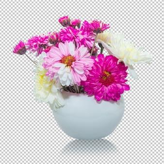 Flores de crisântemo rosa e branco na transparência do vaso.