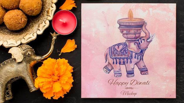 Flores e elefantes do feriado do festival de diwali