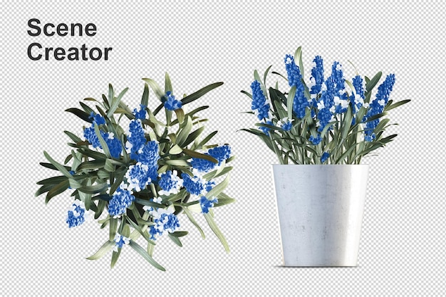 Flores em vasos de plantas em renderização 3d isoladas