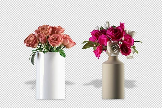 Flores em vasos em renderização 3d isoladas