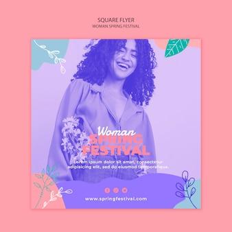 Flyer com conceito de festival de primavera de mulher