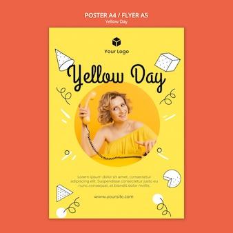 Flyer com estilo dia amarelo