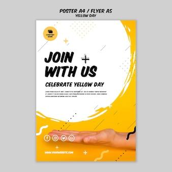 Flyer com modelo de dia amarelo
