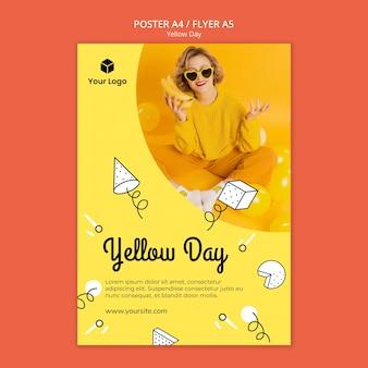 Flyer com tema de dia amarelo