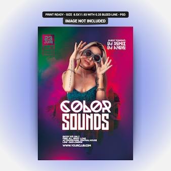Flyer de festa de sons de cor
