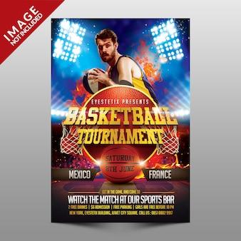 Flyer de torneio de basquete