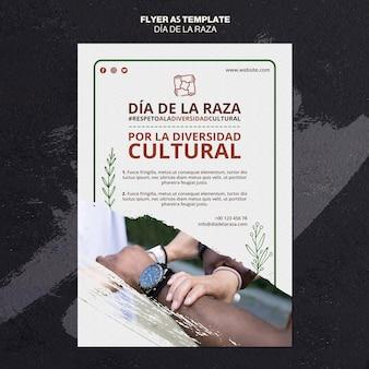 Flyer do dia de la raza com foto