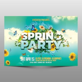 Flyer horizontal de festa de primavera