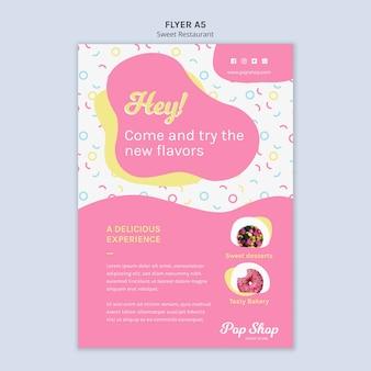 Flyer para design de loja de doces pop