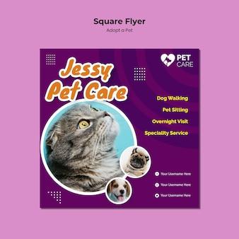 Flyer quadrado adotar um modelo de animal de estimação