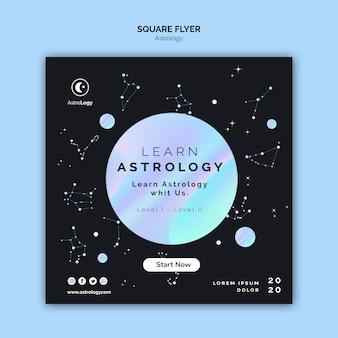 Flyer quadrado de astrologia com constelação