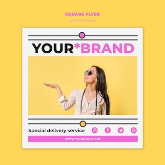 Flyer quadrado de compras on-line de verão