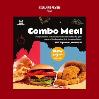 Flyer quadrado de refeição combinada