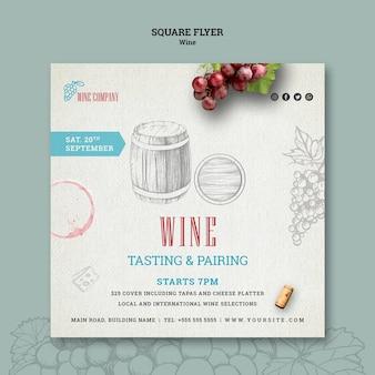 Flyer quadrado para degustação de vinhos
