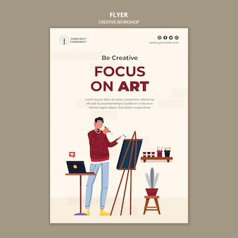 Foco no modelo de folheto de arte