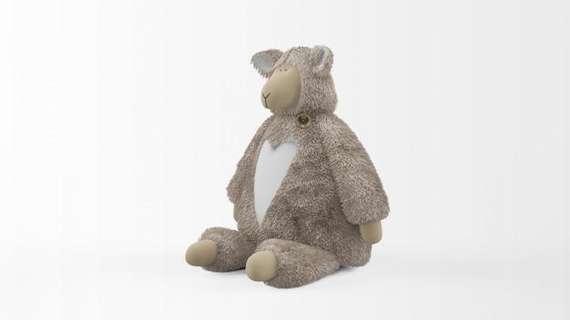 Fofo urso de pelúcia isolado no branco