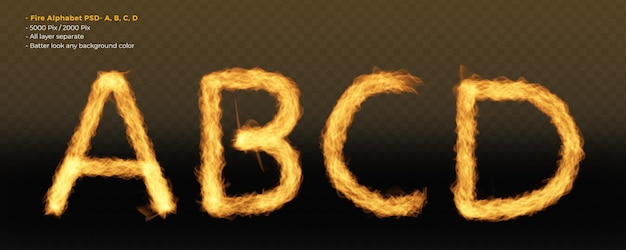 Fogo letras do alfabeto de chamas no fundo