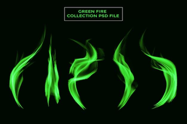 Fogueira de chama mágica verde fogo isolada no fundo