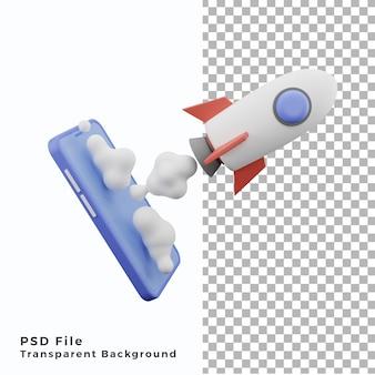 Foguete 3d voando com ícone de ilustração de celular de alta qualidade