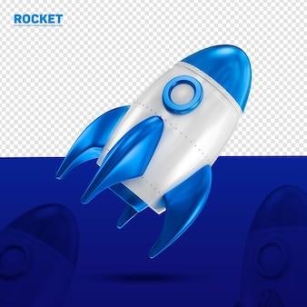 Foguete azul 3d à esquerda para composição
