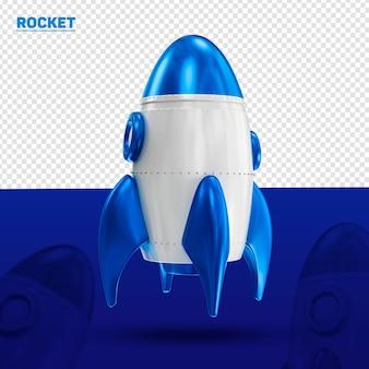 Foguete azul 3d frontal para composição