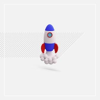 Foguete de renderização 3d isolado