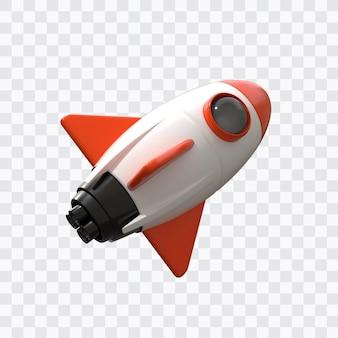 Foguete espacial 3d isolado