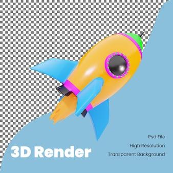 Foguete espacial de renderização 3d com ilustração de fogo