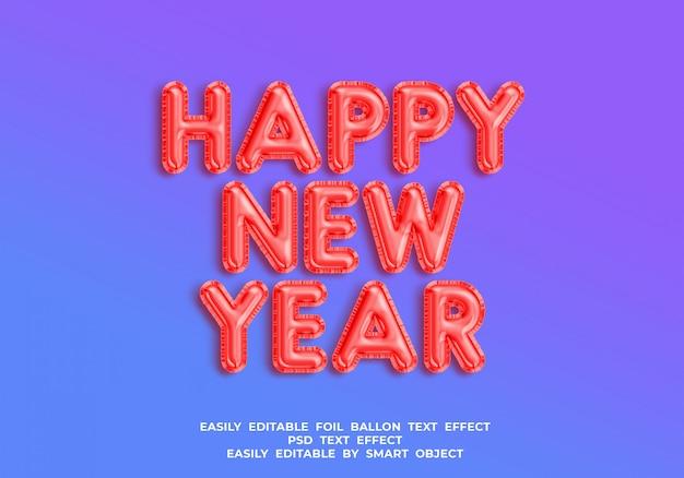 Foil ballon efeito de texto 3d feliz ano novo