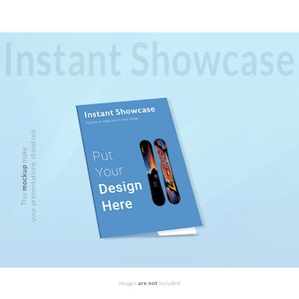 Fold blue flyer mock up