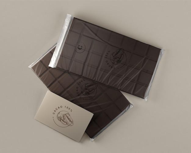 Folha de chocolate embrulho mock-up