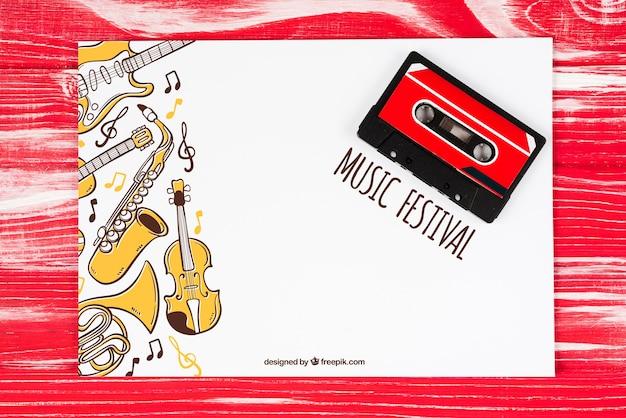 Folha de mock-up com conceito de música e fita