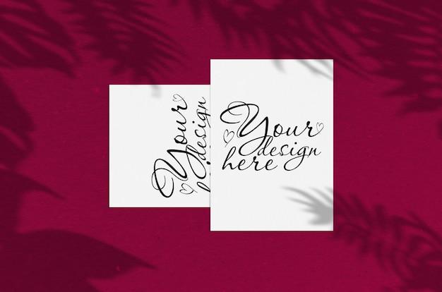 Folha de papel vertical branco em branco polegadas com sobreposição de sombra. cartão moderno e elegante mock up