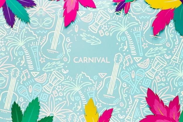 Folhas de carnaval brasileiro colorido