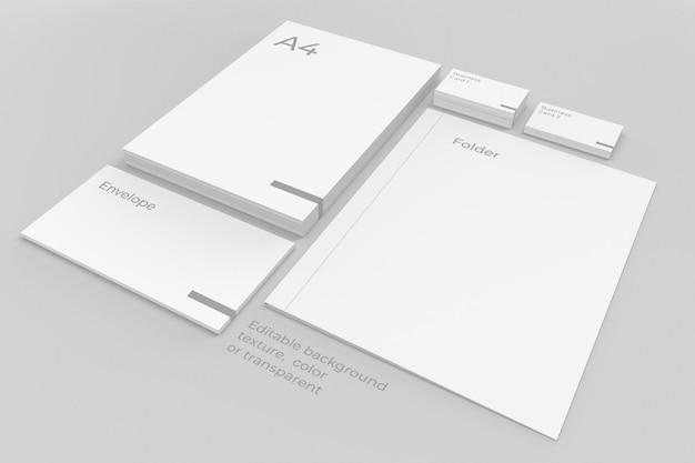 Folhas de maquete de papelaria de marca empilhadas com pasta e envelope