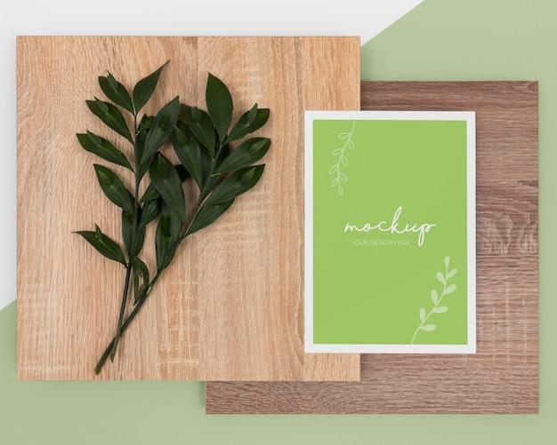 Folhas de vista superior, papelaria e madeira