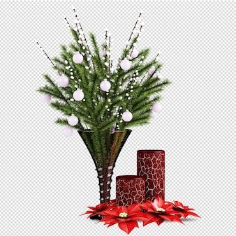 Folhas e flores vermelhas, natal renderizado em 3d