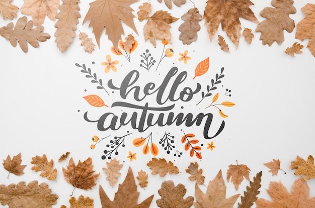 Folhas marrons emoldurando letras de outono olá