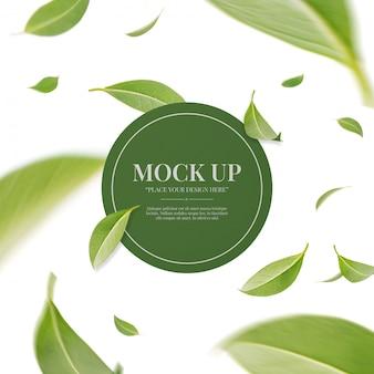 Folhas verdes de redemoinho voador com conceito de quadro
