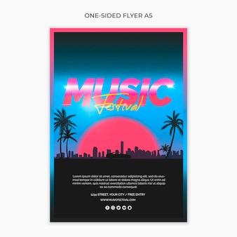 Folheto a5 de um lado para o festival de música dos anos 80