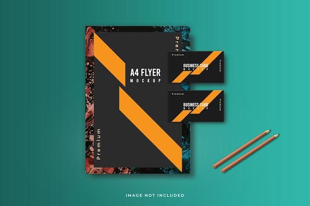Folheto com design de maquete de cartão de visita