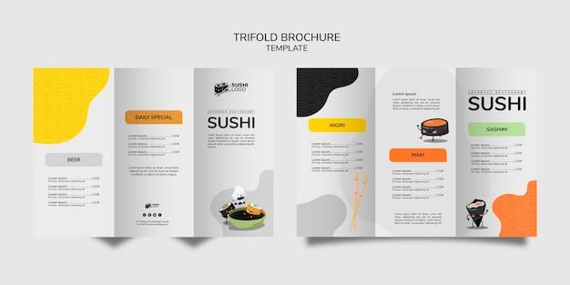 Folheto com três dobras do restaurante de sushi asiático