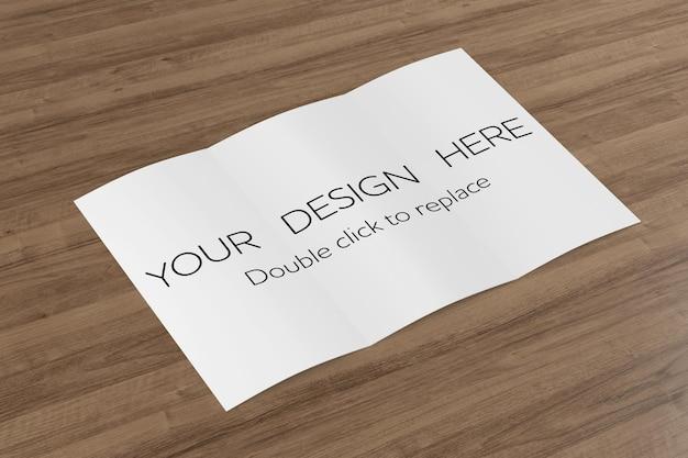 Folheto com três dobras, simulação de vista - renderização em 3d