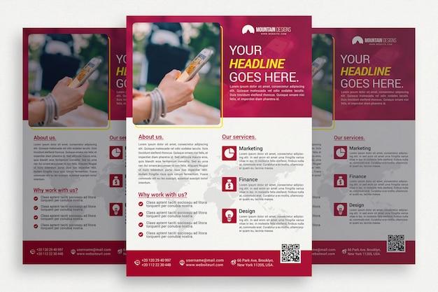Folheto comercial branco com detalhes cor-de-rosa