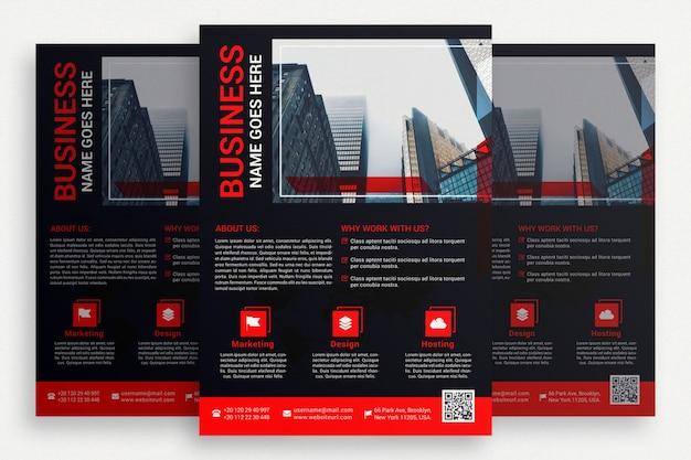 Folheto comercial preto com detalhes vermelhos